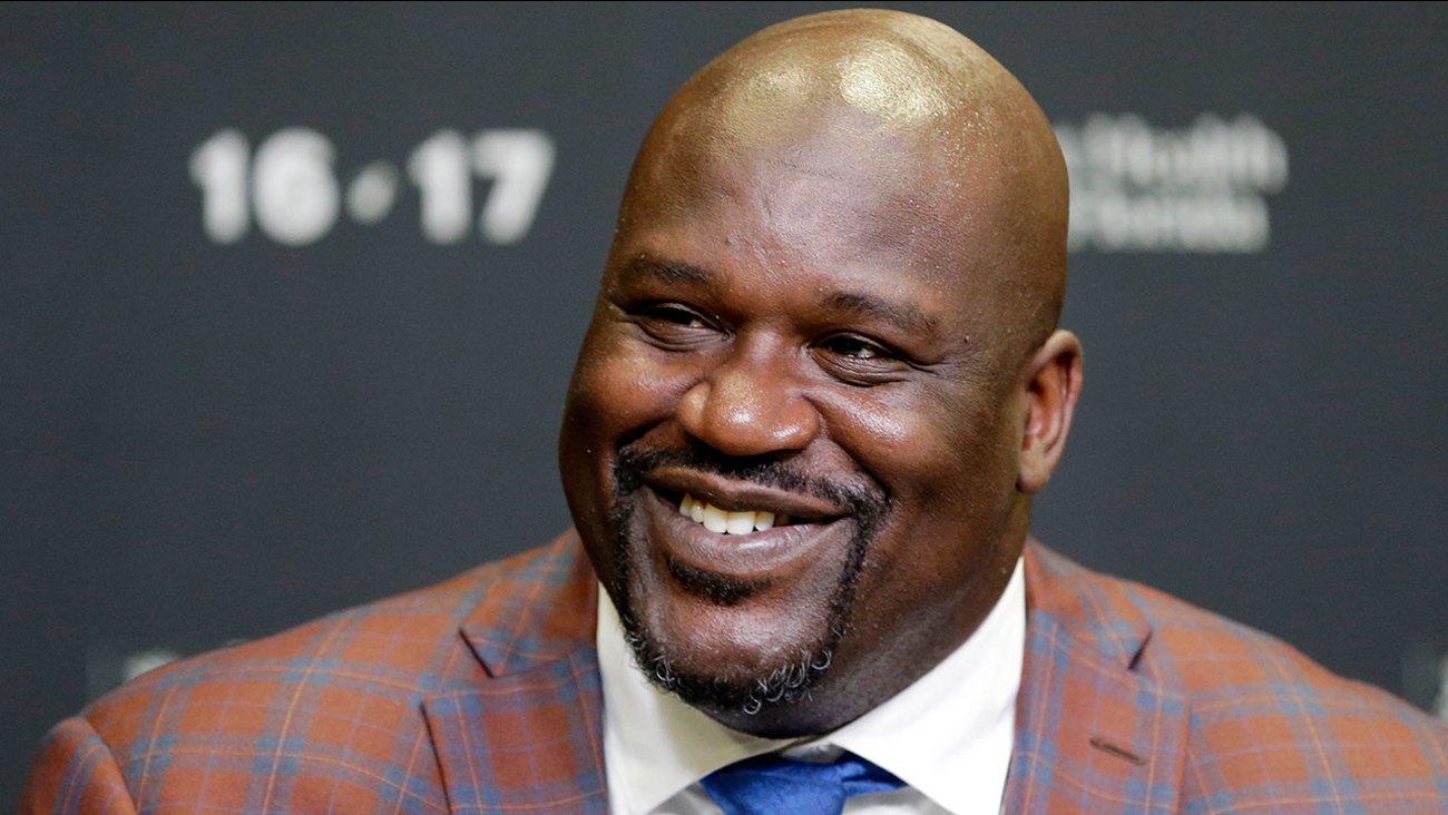 Retired Hall of Famer and Laker star Shaquille O'Neal pictured at a Miami news conference on Dec. 22, 2016.