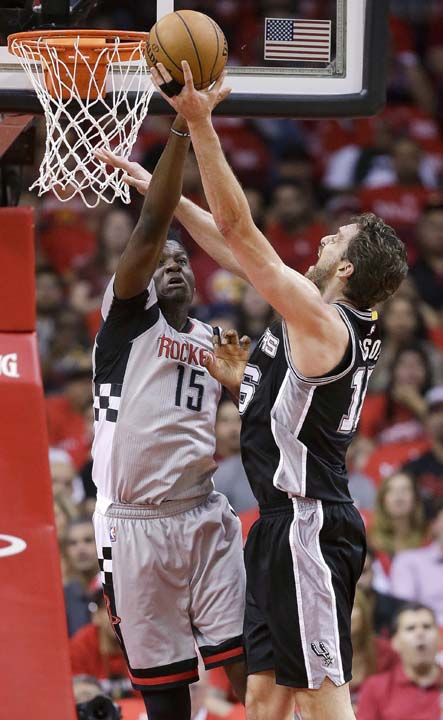 <div class='meta'><div class='origin-logo' data-origin='KTRK'></div><span class='caption-text' data-credit='AP'>San Antonio Spurs center Pau Gasol, right, shoots over Houston Rockets center Clint Capela during the first half in Game 6. (AP Photo/Eric Christian Smith)</span></div>