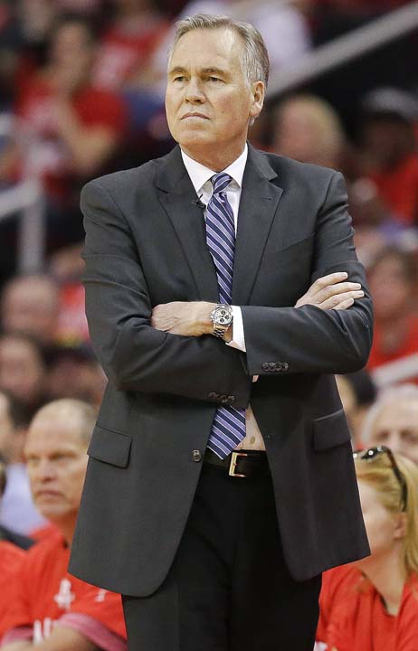<div class='meta'><div class='origin-logo' data-origin='KTRK'></div><span class='caption-text' data-credit='AP'>Houston Rockets coach Mike D'Antoni watches from the sideline during the first half in Game 6. (AP Photo/Eric Christian Smith)</span></div>