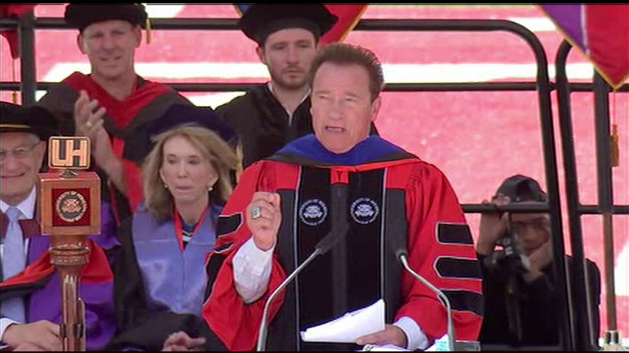 Former California Governor Arnold Schwarzenegger showed his support for immigrants in a commencement speech in Texas on Friday, May 12, 2017.