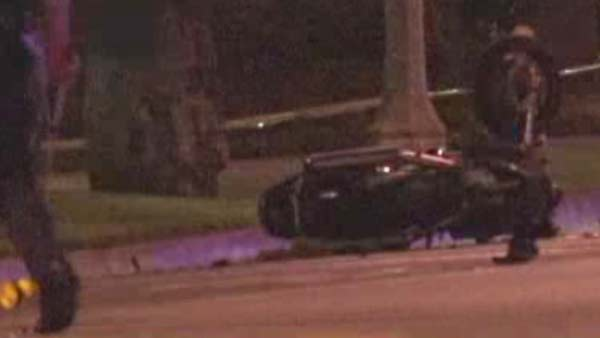 A motorcycle rider and a pedestrian died from injuries sustained in a crash in Long Beach Thursday night, July 17, 2014.