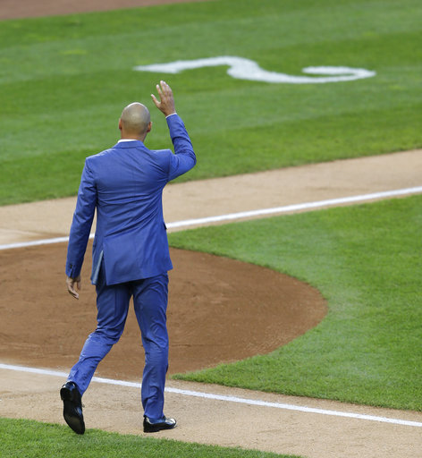 <div class='meta'><div class='origin-logo' data-origin='AP'></div><span class='caption-text' data-credit='AP'>Former New York Yankees' Derek Jeter waves to the crowd during a ceremony retiring his number at Yankee Stadium, Sunday, May 14, 2017, in New York. (AP Photo/Seth Wenig)</span></div>