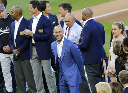 <div class='meta'><div class='origin-logo' data-origin='AP'></div><span class='caption-text' data-credit='AP'>Former New York Yankees' Derek Jeter smiles during a ceremony retiring his number at Yankee Stadium, Sunday, May 14, 2017, in New York. (AP Photo/Seth Wenig)</span></div>