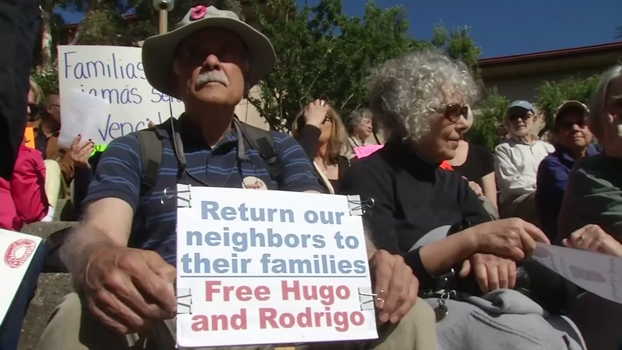 A crowd holding signs to support  the release of a San Rafael man being detained by ICE is seen on Monday, May 15, 2017.