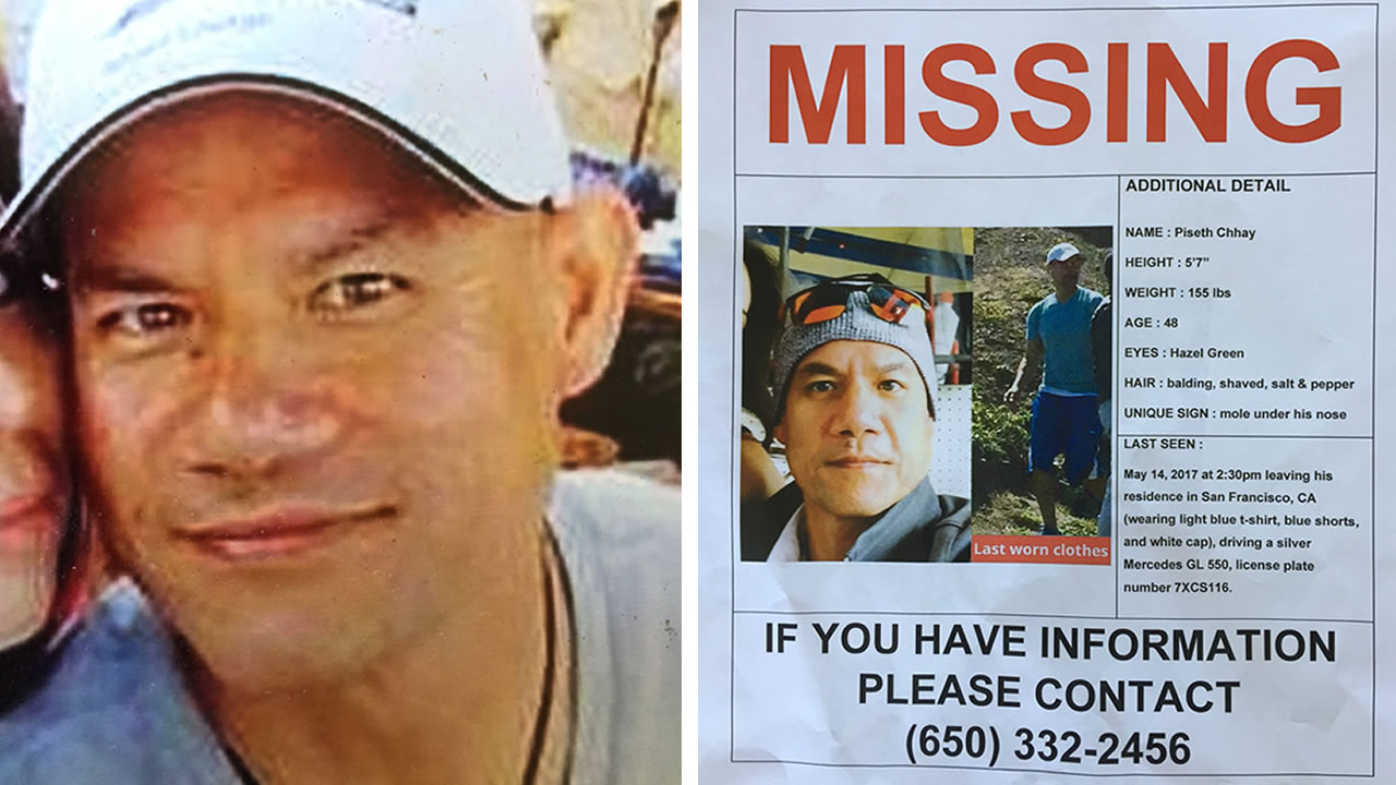 This is an undated split image of Chhay and a missing poster that his wife put up in San Francisco on Wednesday, May 17, 2017.