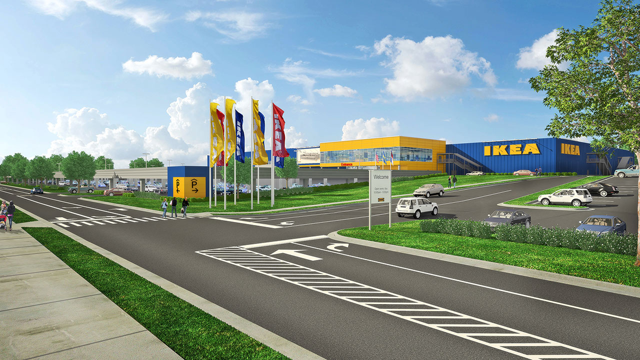 Artist rendering of potential IKEA store in Cary