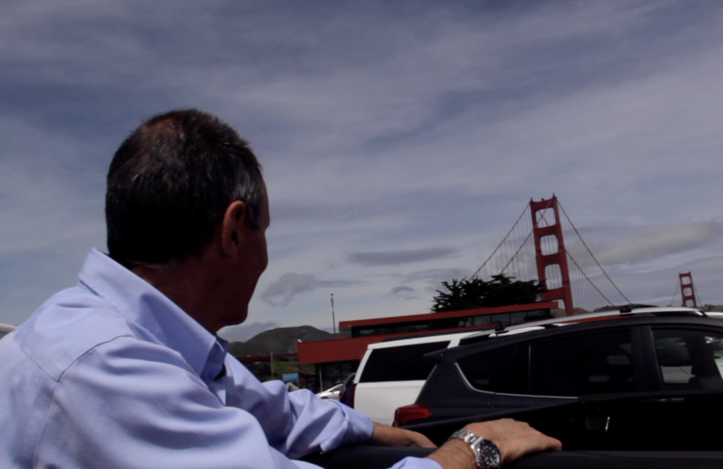 This undated image shows Ken Baldwin looking at the Golden Gate Bridge.