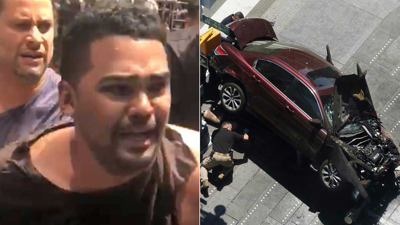 In this image made from video provided by Oscar Navarro Reyes, Richard Rojas is arrested after a fatal automobile accident on New York City's Times Square, Thursday, May 18, 2017.