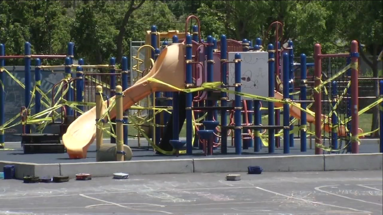 A playground appears roped off during a stomach flu outbreak at a San Jose school on Friday, May 19, 2017.