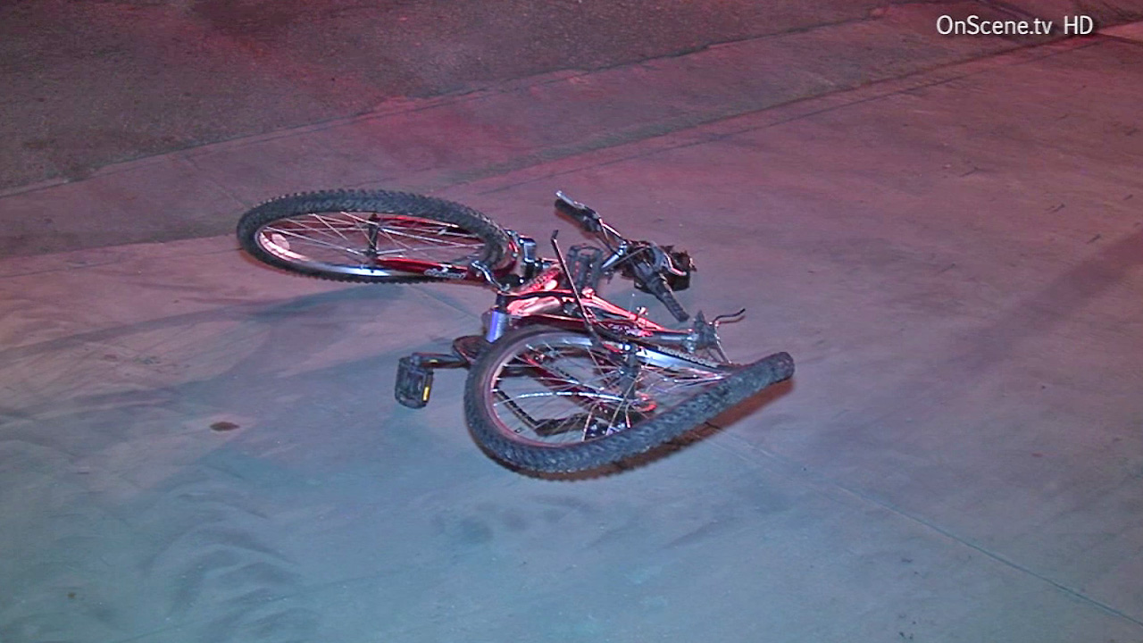 A bicycle is seen after the rider was hit by a car in Pomona on Saturday, July 19, 2014.