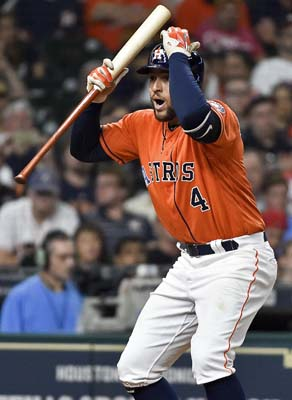 "<div class=""meta image-caption""><div class=""origin-logo origin-image ap""><span>AP</span></div><span class=""caption-text"">George Springer reacts after being called out on strikes to end the seventh inning of a baseball game against the Cleveland Indians (AP Photo/Eric Christian Smith) (AP)</span></div>"