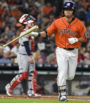"<div class=""meta image-caption""><div class=""origin-logo origin-image ap""><span>AP</span></div><span class=""caption-text"">Houston Astros' Norichika Aoki reacts after flying out during the second inning of a baseball game against the Cleveland Indians, . (AP Photo/Eric Christian Smith) (AP)</span></div>"