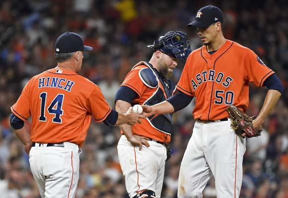 "<div class=""meta image-caption""><div class=""origin-logo origin-image ap""><span>AP</span></div><span class=""caption-text"">Charlie Morton (50) hands the ball to manager A.J. Hinch while being removed from a baseball game during the sixth inning against the Indians(AP Photo/Eric Christian Smith) (AP)</span></div>"