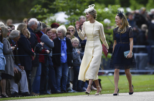 "<div class=""meta image-caption""><div class=""origin-logo origin-image none""><span>none</span></div><span class=""caption-text"">Donna Air, left, arrives at St Mark's Church in Englefield, England, ahead of the wedding of Pippa Middleton and James Matthews, Saturday, May 20, 2017. (AP)</span></div>"