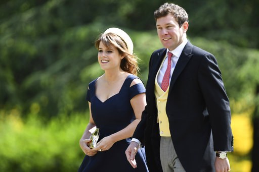 "<div class=""meta image-caption""><div class=""origin-logo origin-image none""><span>none</span></div><span class=""caption-text"">Britain's Princess Eugenie, left and her partner Jack Brooksbank, arrive for the wedding of Pippa Middleton and James Matthews, Saturday, May 20, 2017. (AP)</span></div>"