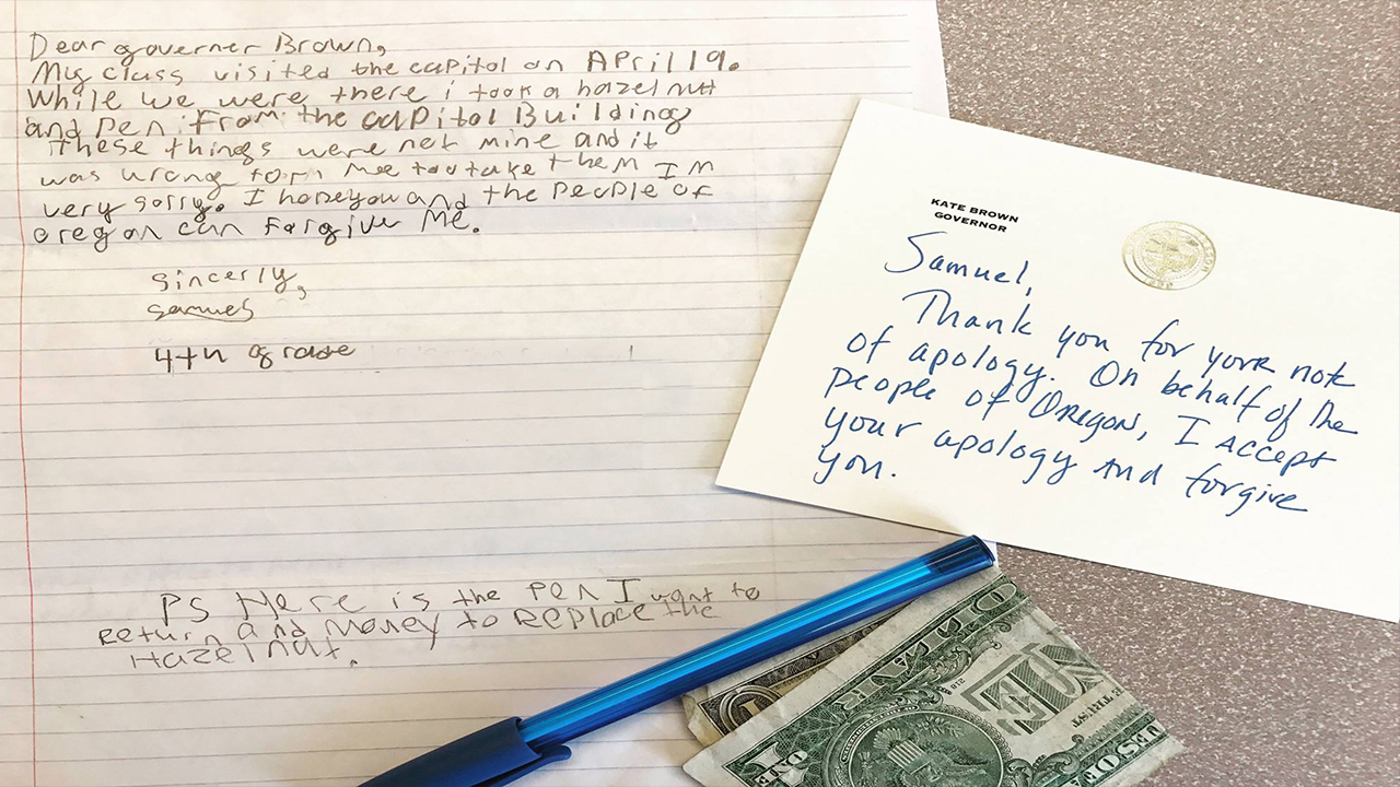 Thursday, Oregon Governor Kate Brown pardoned a 4th-grader after receiving this heartfelt confession letter.