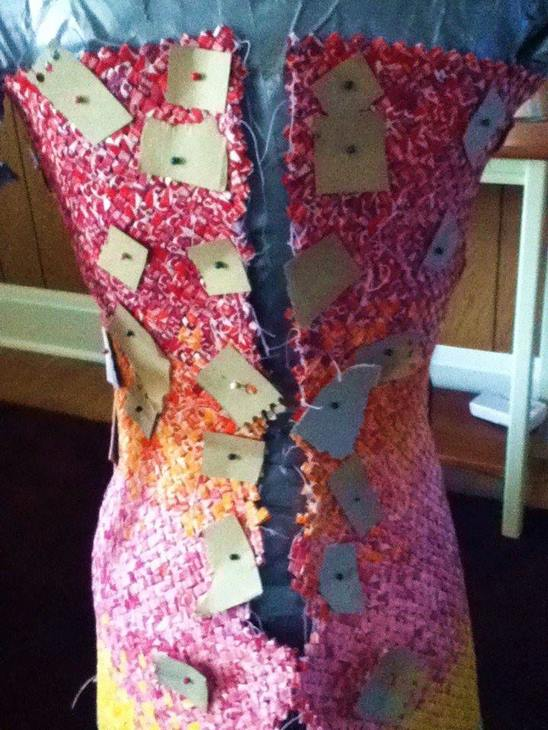 "<div class=""meta image-caption""><div class=""origin-logo origin-image none""><span>none</span></div><span class=""caption-text"">It took Emily Seilhamer 4 years and 10,000 Starburst wrappers to make the dress. (Credit: Emily Seilhamer)</span></div>"