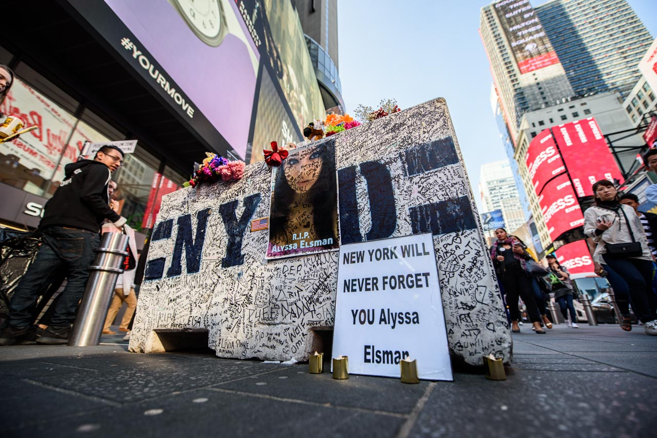 <div class='meta'><div class='origin-logo' data-origin='none'></div><span class='caption-text' data-credit='Photo/Mike Waterhouse'>A concrete barrier at the intersection of 45th Street and Seventh Avenue in Times Square has been turned into a makeshift memorial for the victims of a deadly pedestrian crash.</span></div>