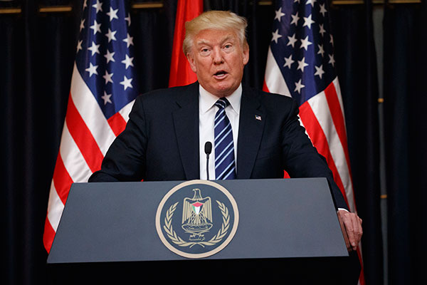 <div class='meta'><div class='origin-logo' data-origin='none'></div><span class='caption-text' data-credit='Evan Vucci/AP Photo'>President Donald Trump makes a statement on the terrorist attack in Manchester after a meeting with Palestinian President Mahmoud Abbas, Tuesday, May 23, 2017.</span></div>