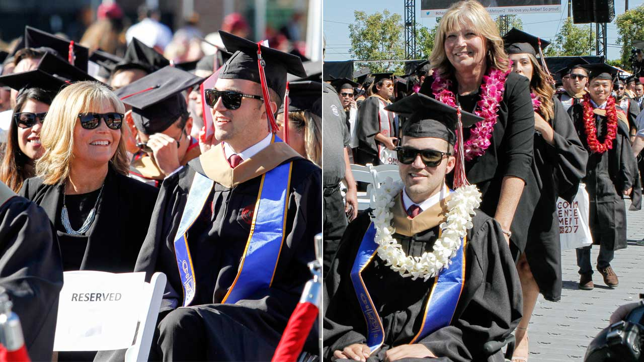Judy O'Connor and her son, MBA graduate Marty O'Connor, are seen during commencement at Chapman University in Orange, Calif. on Saturday, May 20, 2017.