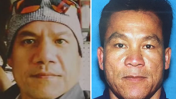 Missing Uber driver Piseth Chhay is pictured on the left and Bob Tang, a person of interest in the case, is pictured on the right.