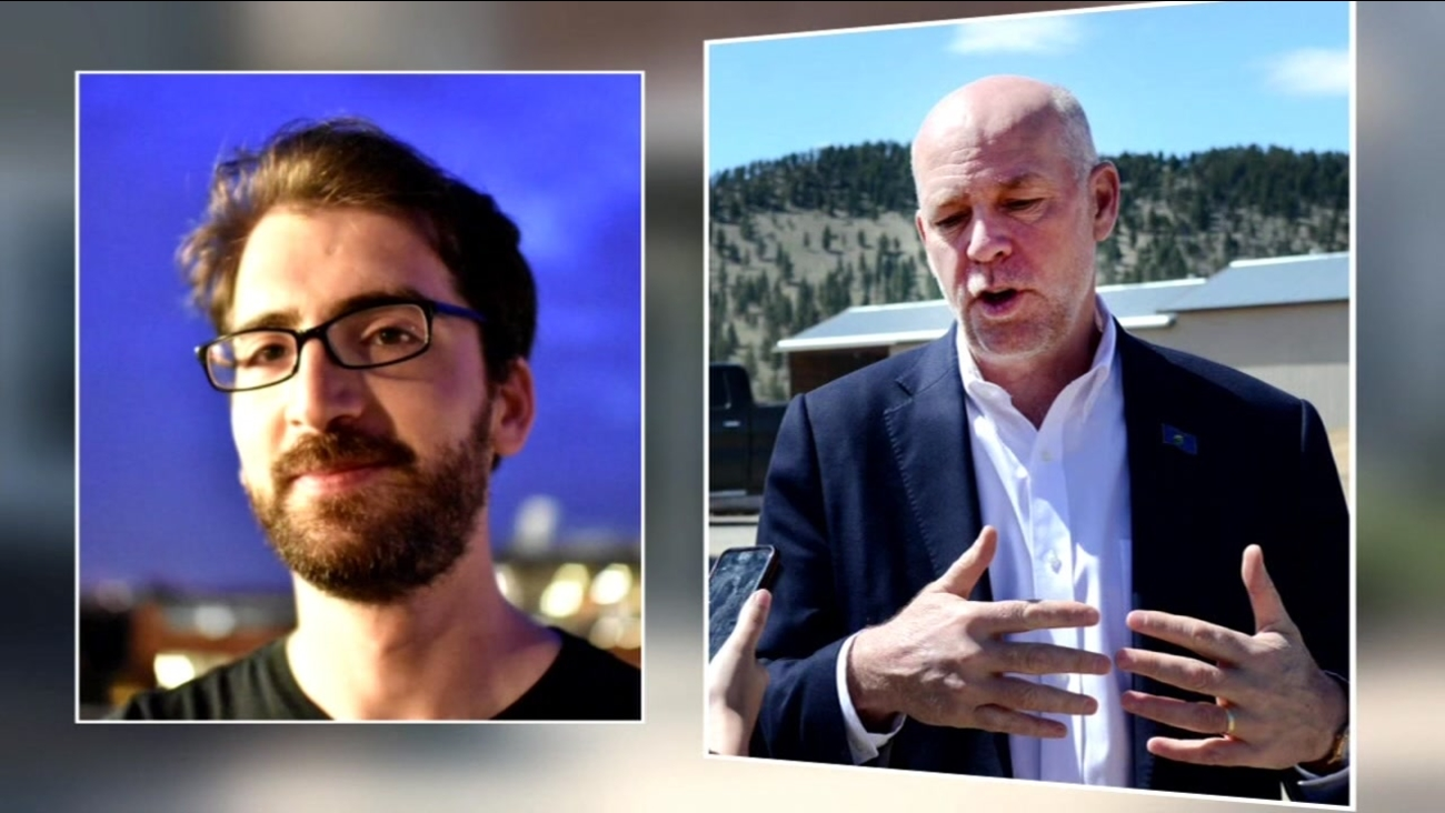 Greg Gianforte, who is running for an open House seat in Montana, is accused of body slamming Guardian reporter Ben Jacobs, left.