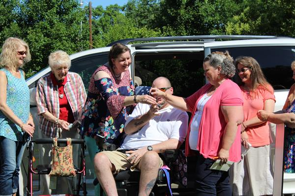 <div class='meta'><div class='origin-logo' data-origin='WTVD'></div><span class='caption-text' data-credit=''>Former Raleigh Police Officer AJ Luedtke is battling multiple sclerosis. He's been surprised with a handicap accessible van, a motorized wheelchair and more than $4,000.</span></div>