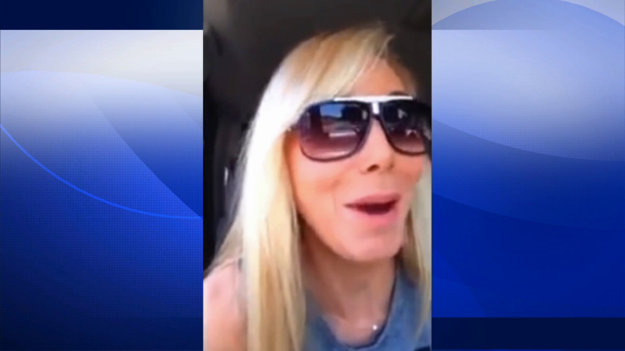 Laura Weintraub is seen in a still from a YouTube video she posted in which she jokes about running over cyclists.