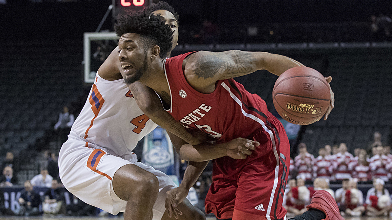 NC State's Terry Henderson drives against Clemson in March 2017.