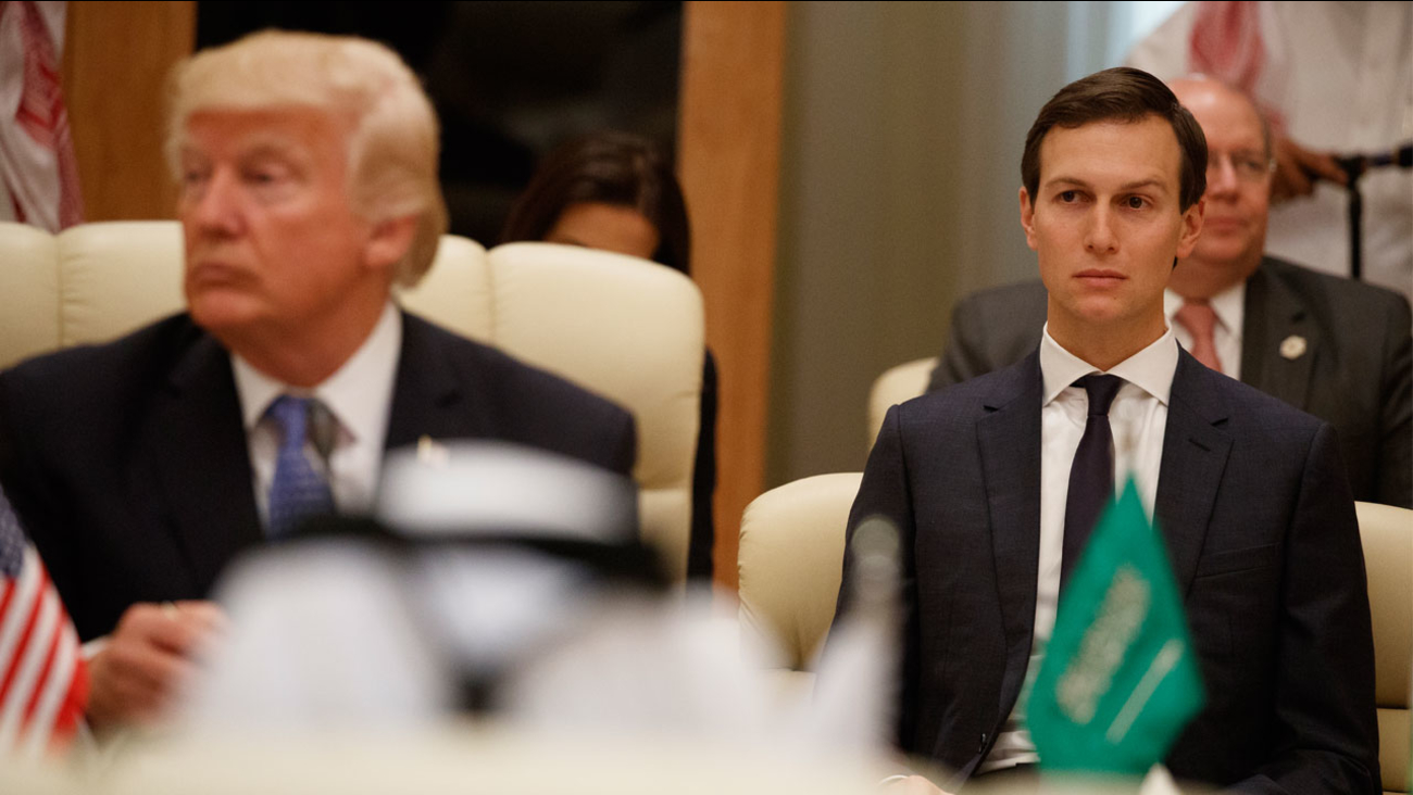 White House senior adviser Jared Kushner, right, looks on during a meeting between U.S. President Donald Trump, left, and leaders at the Gulf Cooperation Council Summit.