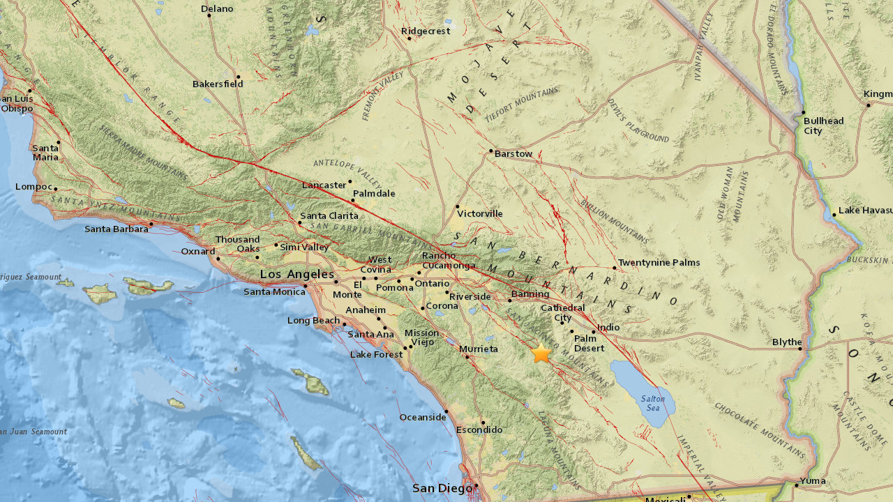 A preliminary magnitude 3.4 earthquake struck 3 miles northeast of Anza on Monday, May 29, 2017.