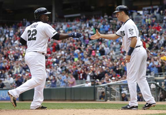 "<div class=""meta image-caption""><div class=""origin-logo origin-image ap""><span>AP</span></div><span class=""caption-text"">Minnesota Twins' Miguel Sano, left, is congratulated by Joe Mauer on his two-run home run off Houston Astros pitcher Jordan Jankowski in the fifth inning  (AP Photo/Jim Mone) (AP)</span></div>"
