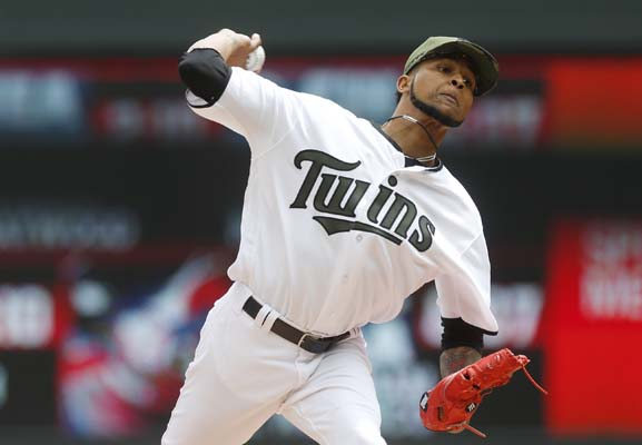 "<div class=""meta image-caption""><div class=""origin-logo origin-image ap""><span>AP</span></div><span class=""caption-text"">Minnesota Twins pitcher Ervin Santana throws against the Houston Astros in the first inning of a baseball game Monday, May 29, 2017, in Minneapolis. (AP Photo/Jim Mone) (AP)</span></div>"