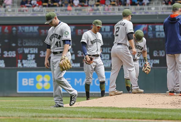 "<div class=""meta image-caption""><div class=""origin-logo origin-image ap""><span>AP</span></div><span class=""caption-text"">Houston Astros pitcher Brad Peacock leaves in the fifth inning of a baseball game against the Minnesota Twins, Monday, May 29, 2017 in Minneapolis. (AP Photo/Jim Mone) (AP)</span></div>"