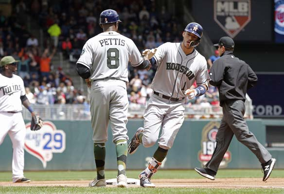 "<div class=""meta image-caption""><div class=""origin-logo origin-image ap""><span>AP</span></div><span class=""caption-text"">Houston Astros' Carlos Correa, right, rounds third on a solo home run off Minnesota Twins pitcher Ervin Santana (AP Photo/Jim Mone) (AP)</span></div>"