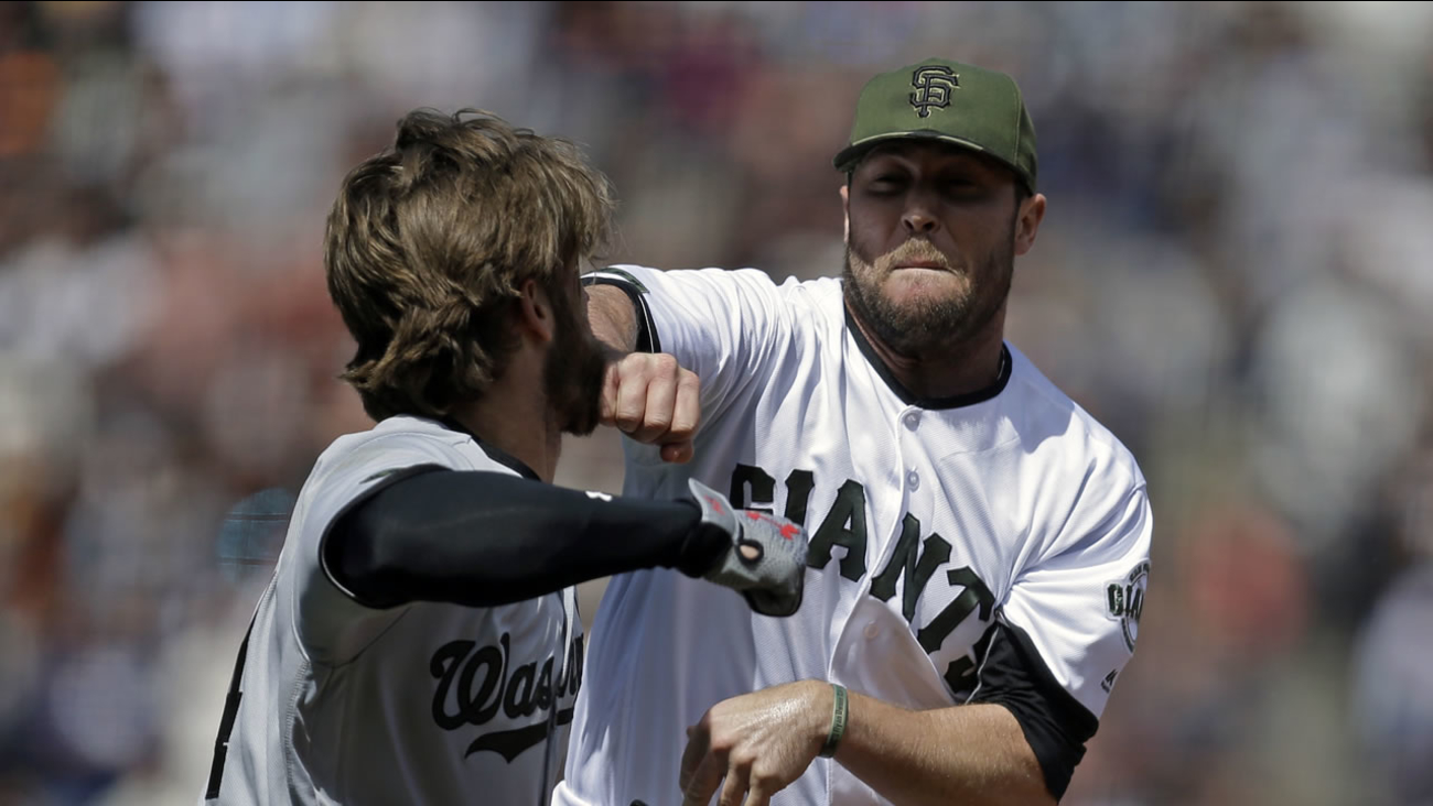 Washington Nationals' Bryce Harper, left, prepares to hit San Francisco Giants' Hunter Strickland after being hit with a pitch in the eighth inning Monday, May 29, 2017.