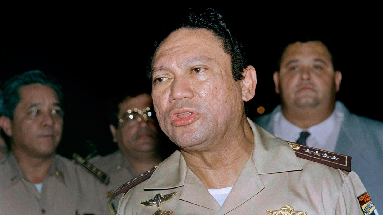 Former General Manuel Antonio Noriega speaking to the press in Panama in a May 1989 file photo.