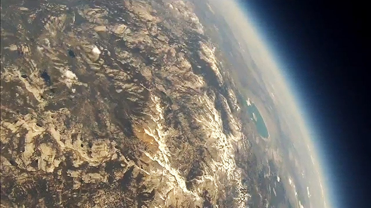 A still from video recorded by a weather balloon launched by Woodland Elementary students in Mariposa County, California.