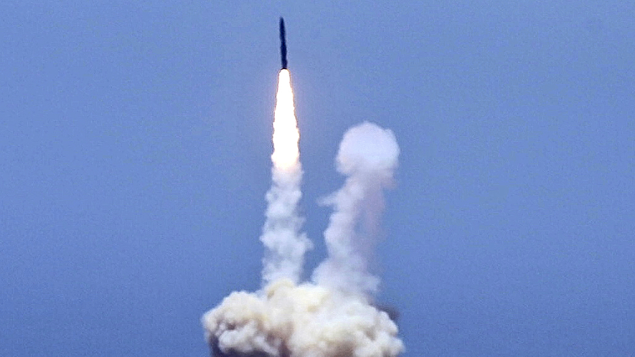 An rocket designed to intercept an intercontinental ballistic missiles is launched from Vandenberg Air Force Base in Calif. on Tuesday.