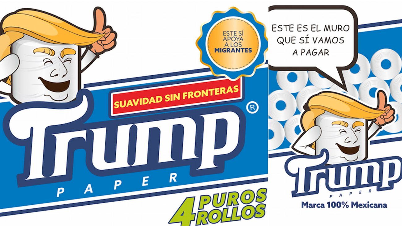 This illustration released by Antonio Battaglia shows toilet paper wrapped in mock-up packaging, featuring a cartoon image in the likeness of President Donald Trump.