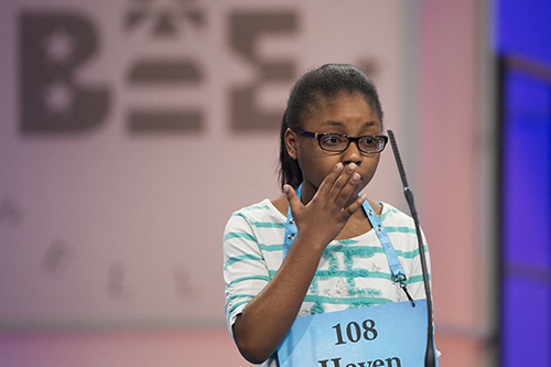 "<div class=""meta image-caption""><div class=""origin-logo origin-image ap""><span>AP</span></div><span class=""caption-text"">Haven Griggs of Lawndale, N.C. misspells her word during the 90th Scripps National Spelling Bee in Oxon Hill, Md., Wednesday, May 31, 2017. (AP Photo/Cliff Owen)</span></div>"