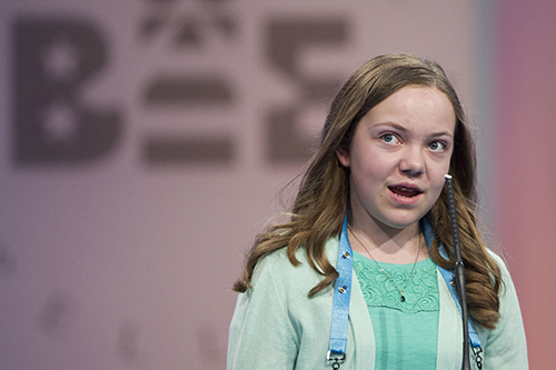 "<div class=""meta image-caption""><div class=""origin-logo origin-image ap""><span>AP</span></div><span class=""caption-text"">Ainsley Boucher, 12, from Crookston, Minn., correctly spells her word during the 90th Scripps National Spelling Bee in Oxon Hill, Md., Wednesday, May 31, 2017. (AP Photo/Cliff Owen)</span></div>"
