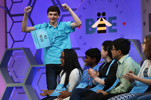 "<div class=""meta image-caption""><div class=""origin-logo origin-image ap""><span>AP</span></div><span class=""caption-text"">Will Lourcey, 14, of Fort Worth, Texas, celebrates after spelling his first word correctly in the 90th Scripps National Spelling Bee in Oxon Hill, Md., Wednesday, May 31, 2017. (AP Photo/Jacquelyn Martin)</span></div>"