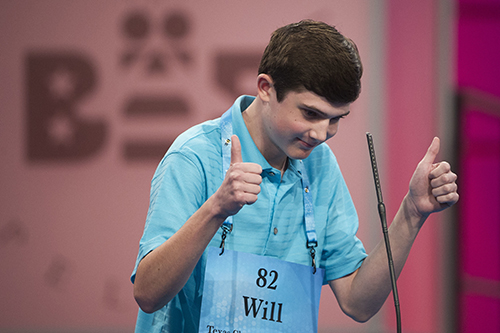 "<div class=""meta image-caption""><div class=""origin-logo origin-image ap""><span>AP</span></div><span class=""caption-text"">Will Lourcey of Fort Worth, Texas reacts after correctly spelling his word during the 90th Scripps National Spelling Bee in Oxon Hill, Md., Wednesday, May 31, 2017. (AP Photo/Cliff Owen)</span></div>"