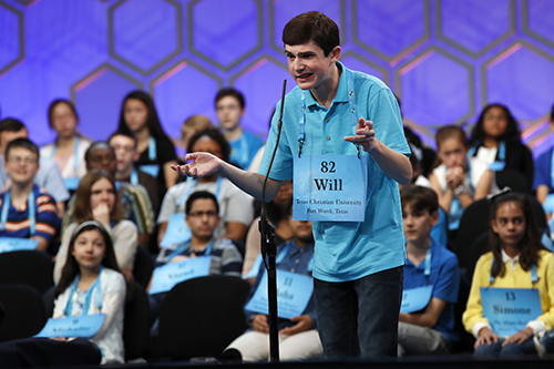 "<div class=""meta image-caption""><div class=""origin-logo origin-image ap""><span>AP</span></div><span class=""caption-text"">Will Lourcey of Fort Worth, Texas, gestures while spelling his first word correctly in the 90th Scripps National Spelling Bee in Oxon Hill, Md., Wednesday, May 31, 2017. (AP Photo/Jacquelyn Martin)</span></div>"
