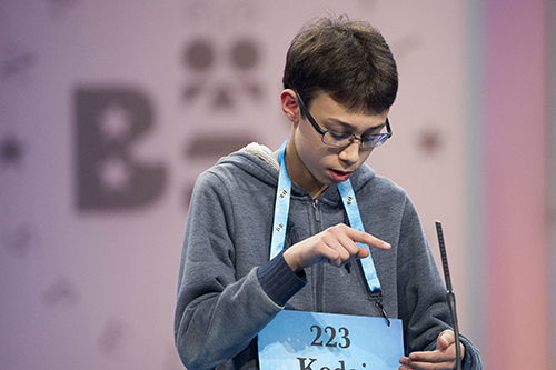 "<div class=""meta image-caption""><div class=""origin-logo origin-image ap""><span>AP</span></div><span class=""caption-text"">Kodai Speich, 13, from Rockford, Ill., correctly spells his word during the 90th Scripps National Spelling Bee in Oxon Hill, Md., Wednesday, May 31, 2017. (AP Photo/Cliff Owen)</span></div>"