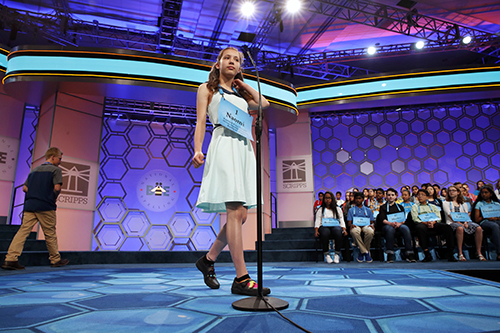 "<div class=""meta image-caption""><div class=""origin-logo origin-image ap""><span>AP</span></div><span class=""caption-text"">Naomi Zarin, 12, of Gray, Maine, approaches the microphone as the first speller in the opening round of the 90th Scripps National Spelling Bee in Oxon Hill, Md. (AP Photo/Jacquelyn Martin)</span></div>"