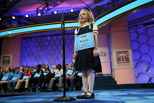 "<div class=""meta image-caption""><div class=""origin-logo origin-image ap""><span>AP</span></div><span class=""caption-text"">Edith Fuller, 6, of Tulsa, Okla., the the youngest speller in history in the National Bee, smiles as she spells her word correctly. (AP Photo/Jacquelyn Martin)</span></div>"