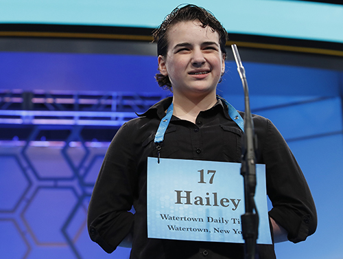 "<div class=""meta image-caption""><div class=""origin-logo origin-image ap""><span>AP</span></div><span class=""caption-text"">Hailey Jinkins, 14, from Alexandria Bay, N.Y., incorrectly spelled his word in the third round of the 90th Scripps National Spelling Bee, Wednesday, May 31, 2017. (AP Photo/Alex Brandon)</span></div>"