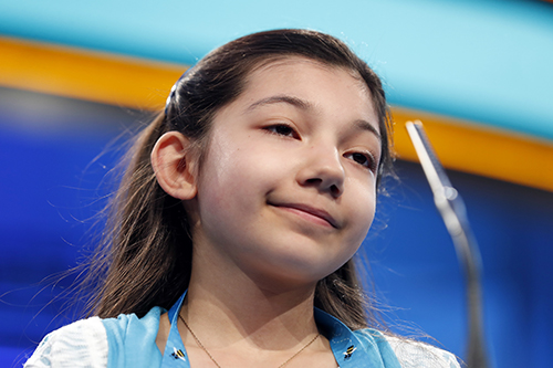 "<div class=""meta image-caption""><div class=""origin-logo origin-image ap""><span>AP</span></div><span class=""caption-text"">Melodie Loya, 12, from Bainbridge, N.Y., correctly spells her word in the third round of the 90th Scripps National Spelling Bee, Wednesday, May 31, 2017, in Oxon Hill, Md. (AP Photo/Alex Brandon)</span></div>"